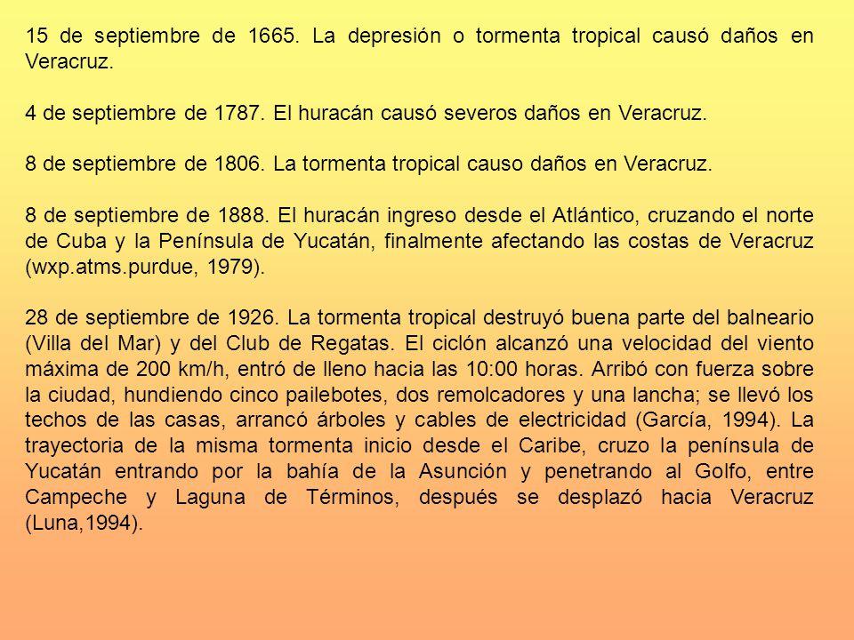 15 de septiembre de 1665. La depresión o tormenta tropical causó daños en Veracruz.