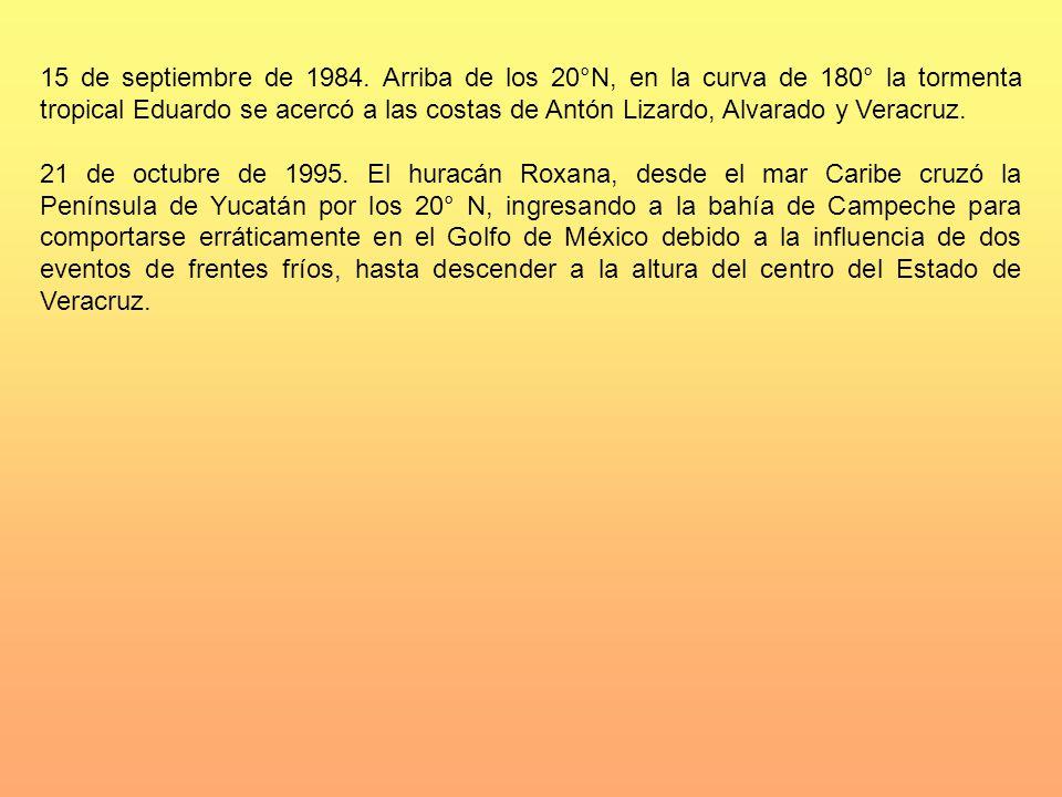15 de septiembre de 1984. Arriba de los 20°N, en la curva de 180° la tormenta tropical Eduardo se acercó a las costas de Antón Lizardo, Alvarado y Veracruz.
