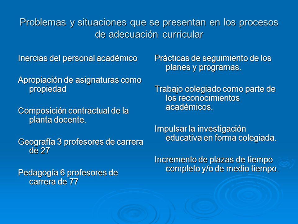 Problemas y situaciones que se presentan en los procesos de adecuación curricular