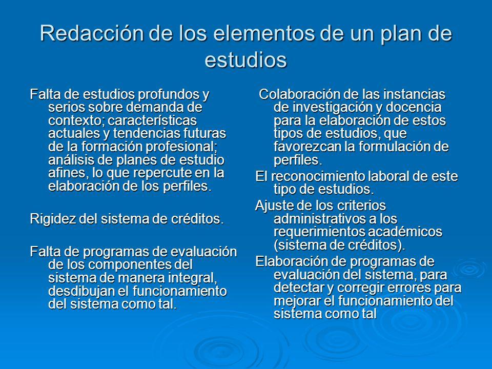 Redacción de los elementos de un plan de estudios