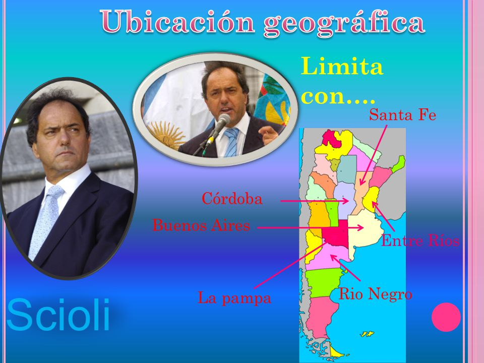 Scioli Ubicación geográfica Limita con…. Santa Fe Córdoba Buenos Aires