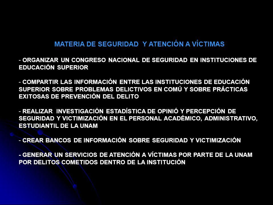 MATERIA DE SEGURIDAD Y ATENCIÓN A VÍCTIMAS