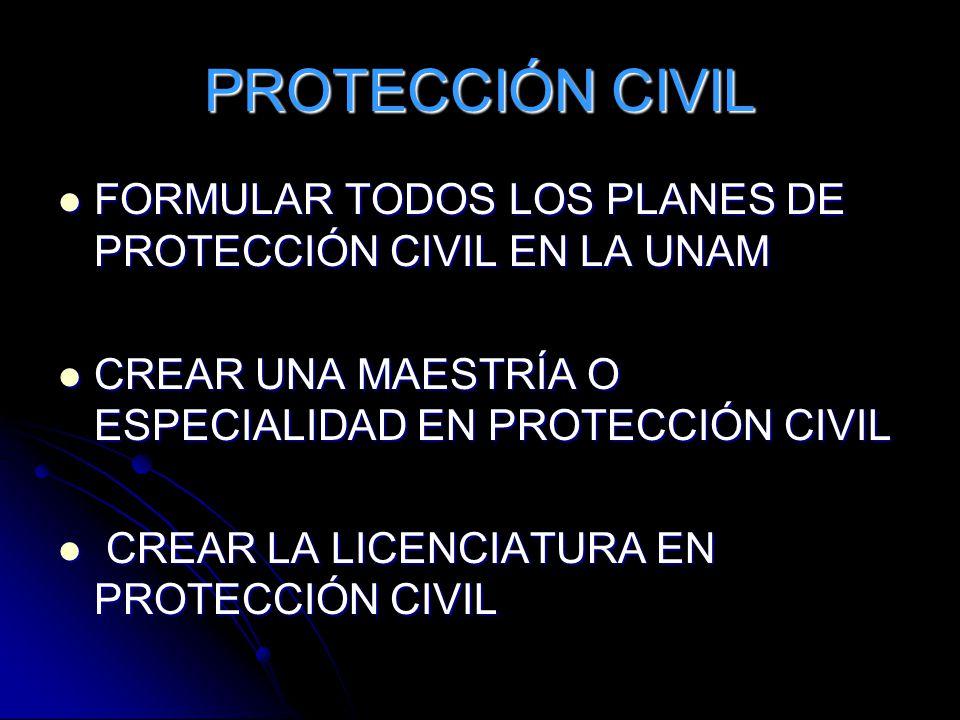 PROTECCIÓN CIVIL FORMULAR TODOS LOS PLANES DE PROTECCIÓN CIVIL EN LA UNAM. CREAR UNA MAESTRÍA O ESPECIALIDAD EN PROTECCIÓN CIVIL.
