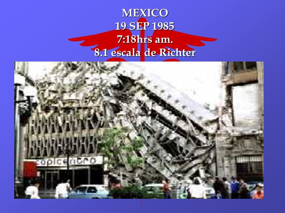MEXICO 19 SEP 1985 7:18hrs am. 8.1 escala de Richter