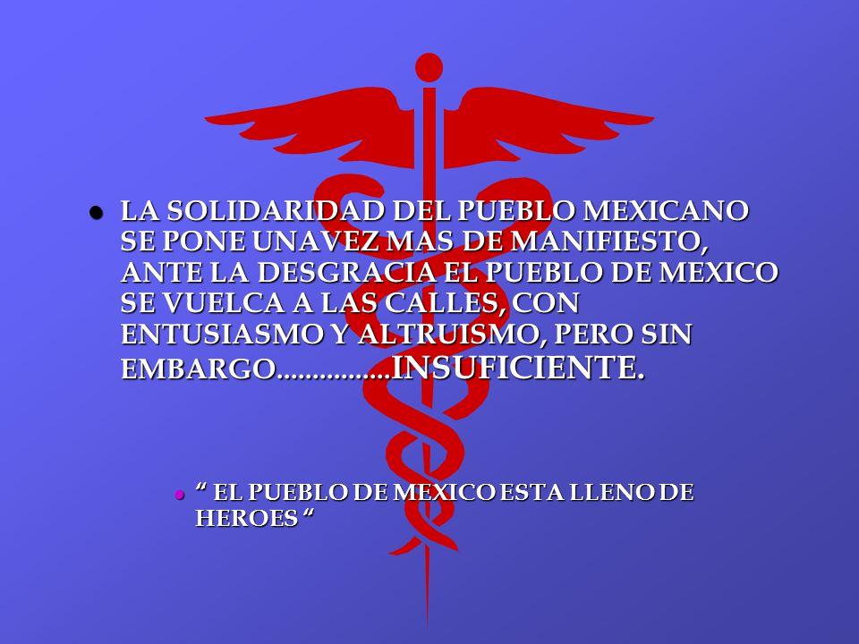 LA SOLIDARIDAD DEL PUEBLO MEXICANO SE PONE UNAVEZ MAS DE MANIFIESTO, ANTE LA DESGRACIA EL PUEBLO DE MEXICO SE VUELCA A LAS CALLES, CON ENTUSIASMO Y ALTRUISMO, PERO SIN EMBARGO................INSUFICIENTE.