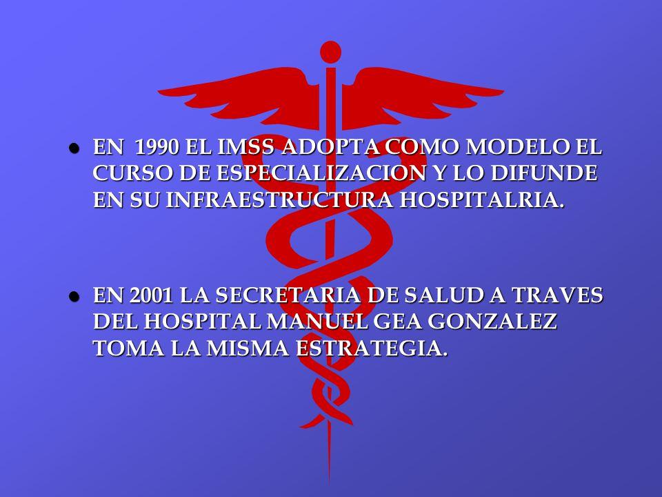 EN 1990 EL IMSS ADOPTA COMO MODELO EL CURSO DE ESPECIALIZACION Y LO DIFUNDE EN SU INFRAESTRUCTURA HOSPITALRIA.