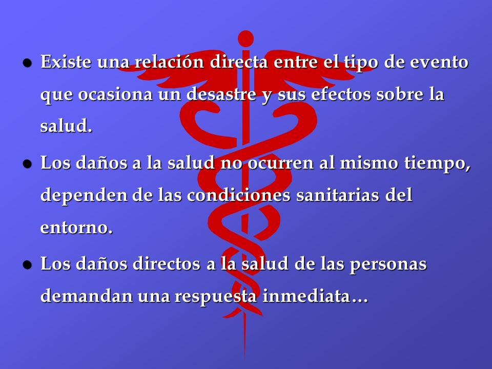 Existe una relación directa entre el tipo de evento que ocasiona un desastre y sus efectos sobre la salud.