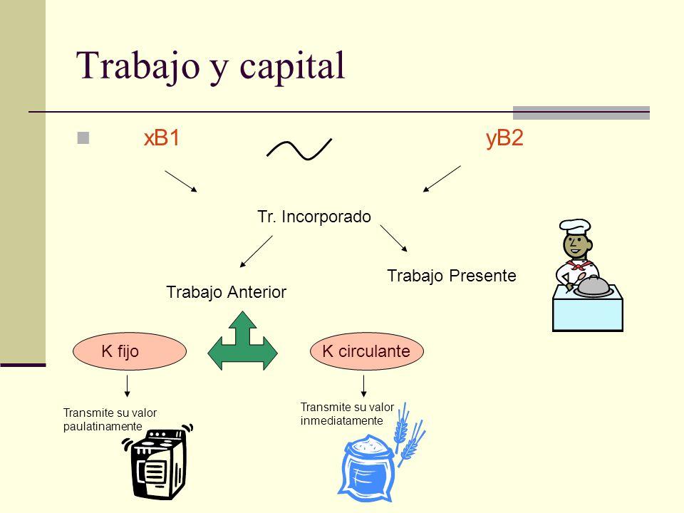 Trabajo y capital xB1 yB2 Tr. Incorporado Trabajo Presente