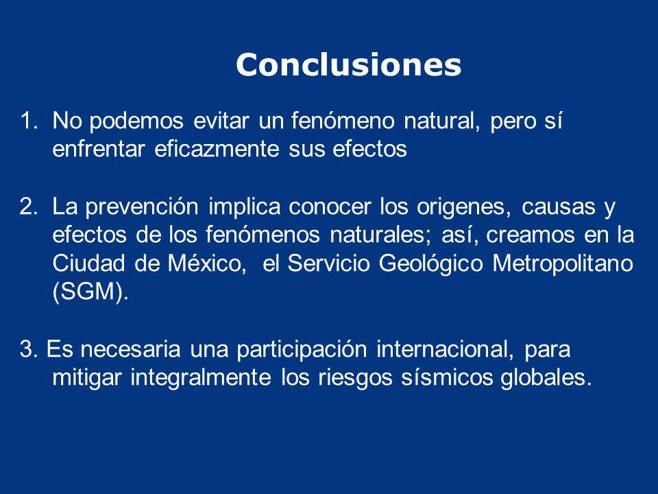 Conclusiones No podemos evitar un fenómeno natural, pero sí enfrentar eficazmente sus efectos.