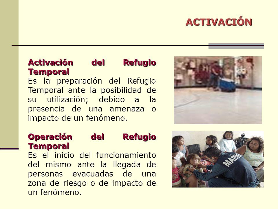 ACTIVACIÓN Activación del Refugio Temporal