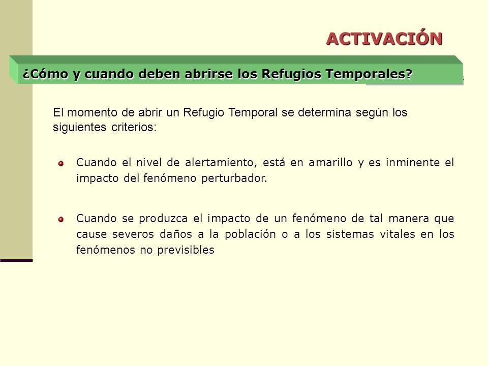 ACTIVACIÓN ¿Cómo y cuando deben abrirse los Refugios Temporales