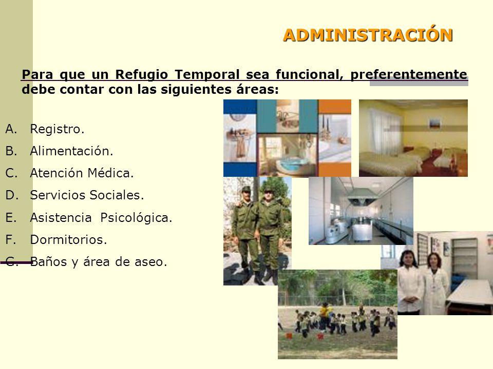 ADMINISTRACIÓN Para que un Refugio Temporal sea funcional, preferentemente debe contar con las siguientes áreas: