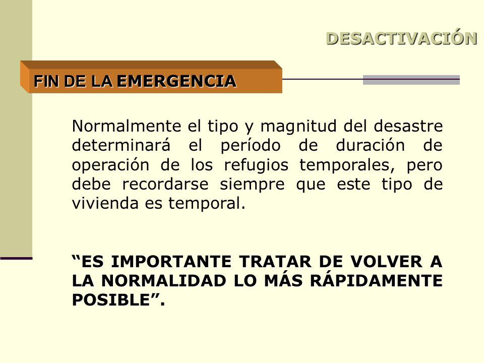 DESACTIVACIÓN FIN DE LA EMERGENCIA.