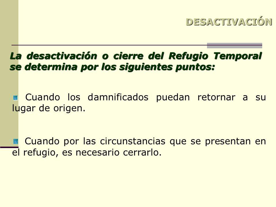 DESACTIVACIÓN La desactivación o cierre del Refugio Temporal se determina por los siguientes puntos: