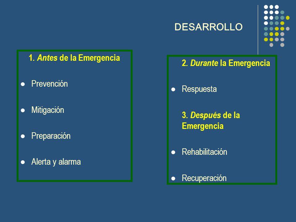 DESARROLLO 1. Antes de la Emergencia 2. Durante la Emergencia