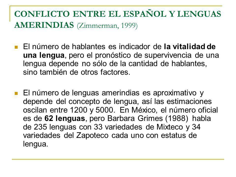 CONFLICTO ENTRE EL ESPAÑOL Y LENGUAS AMERINDIAS (Zimmerman, 1999)
