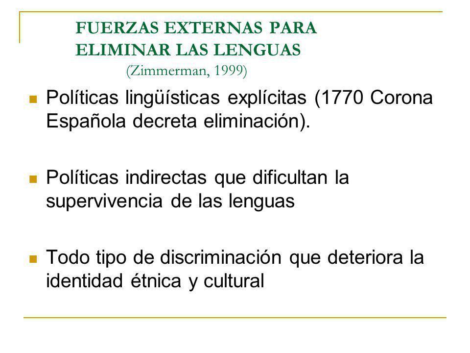 FUERZAS EXTERNAS PARA ELIMINAR LAS LENGUAS (Zimmerman, 1999)