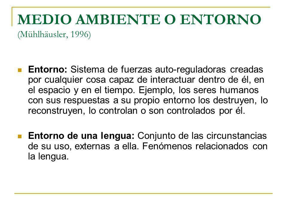 MEDIO AMBIENTE O ENTORNO (Mühlhäusler, 1996)