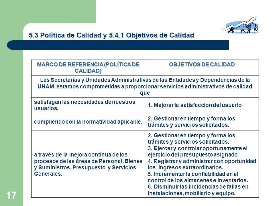 MARCO DE REFERENCIA (POLÍTICA DE CALIDAD)