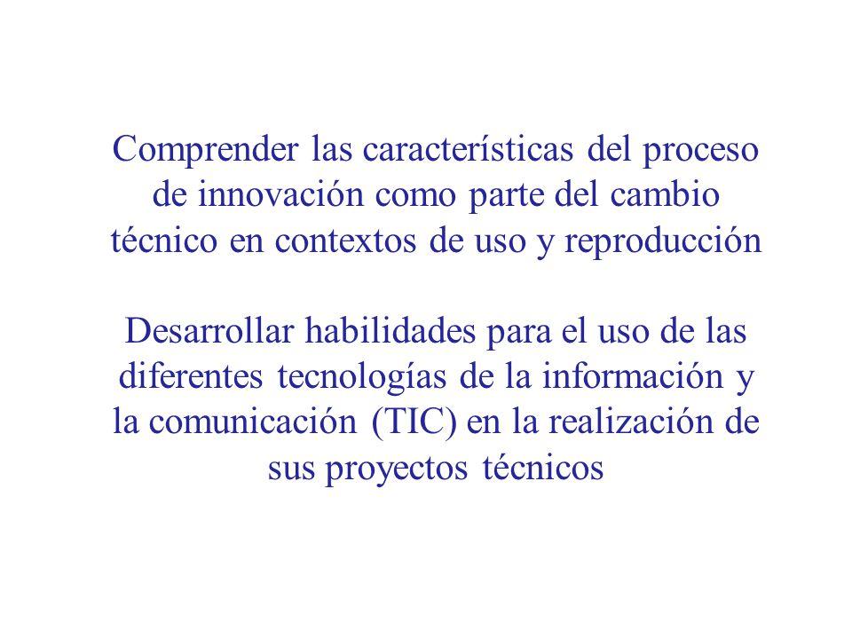 Comprender las características del proceso de innovación como parte del cambio técnico en contextos de uso y reproducción