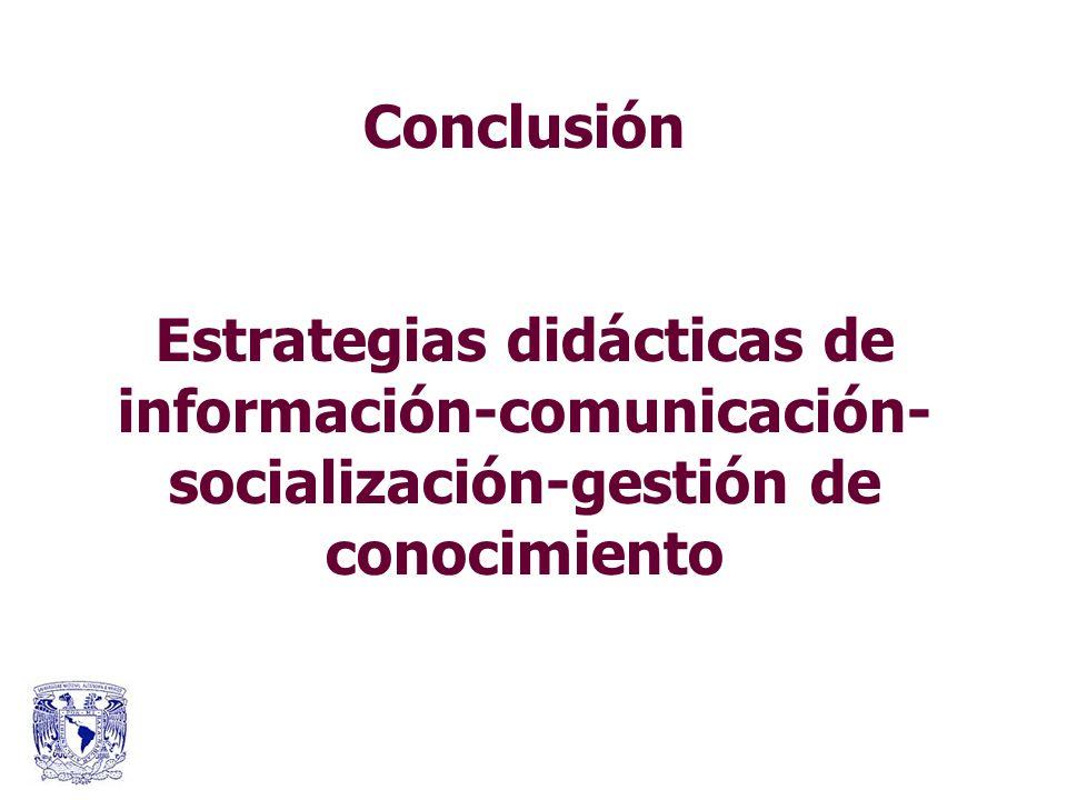 Conclusión Estrategias didácticas de información-comunicación-socialización-gestión de conocimiento