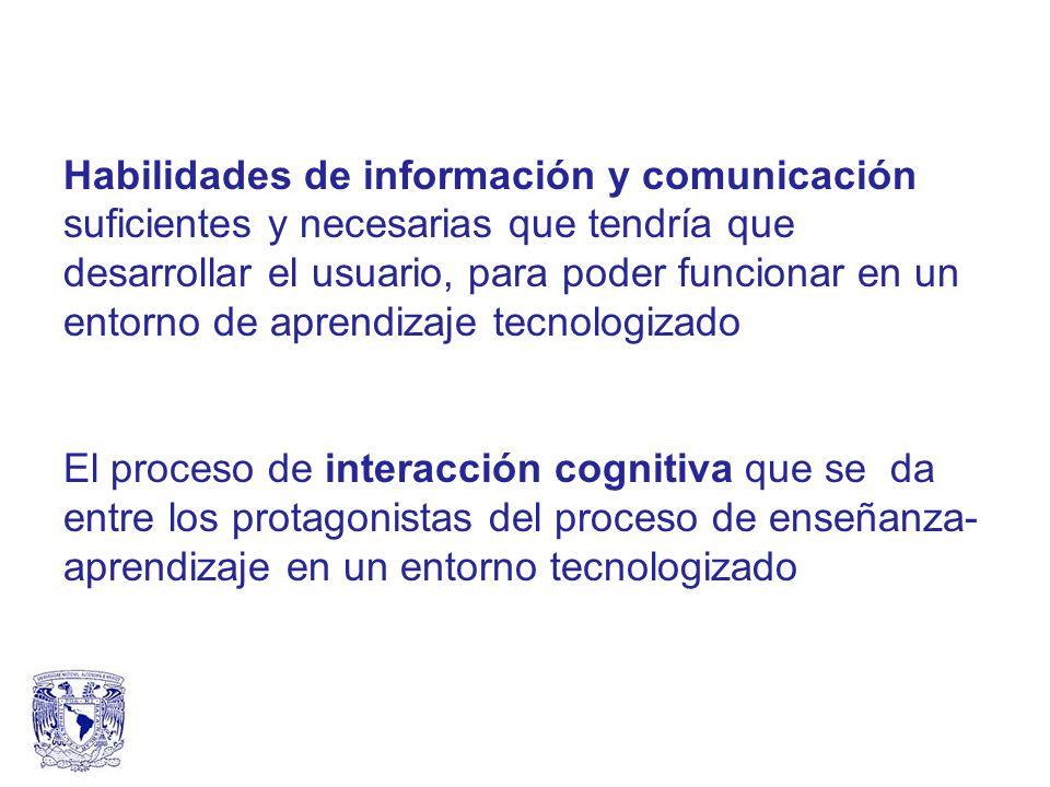 Habilidades de información y comunicación suficientes y necesarias que tendría que desarrollar el usuario, para poder funcionar en un entorno de aprendizaje tecnologizado