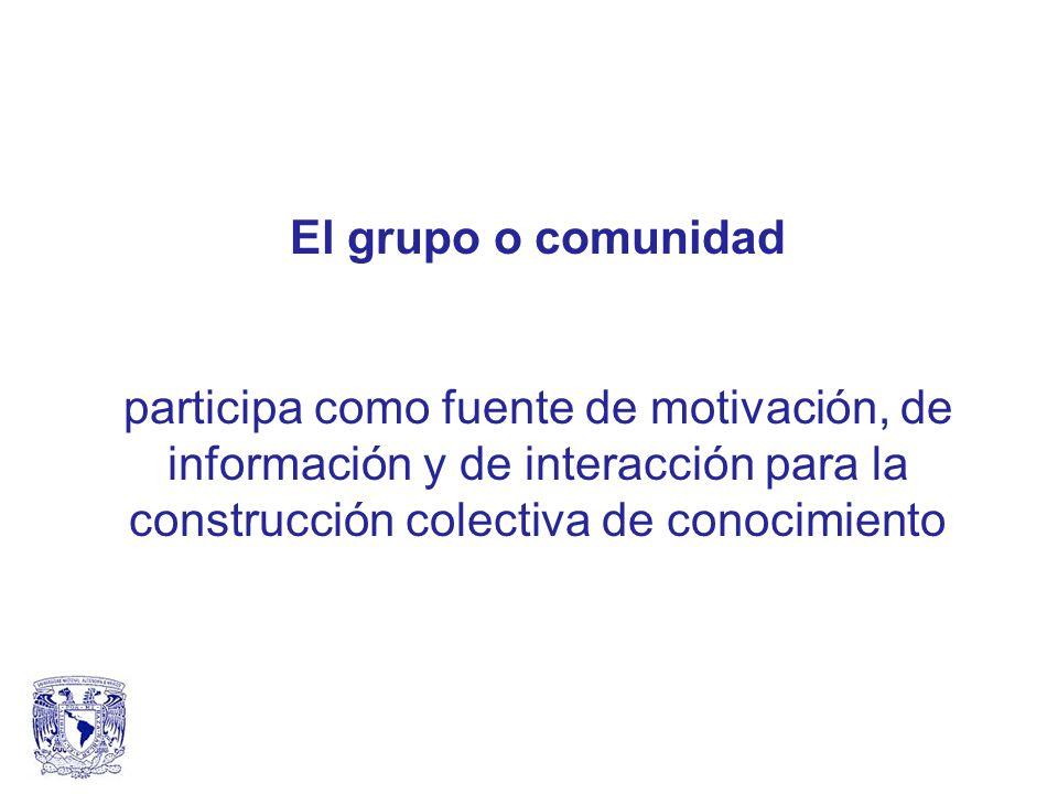 El grupo o comunidad participa como fuente de motivación, de información y de interacción para la construcción colectiva de conocimiento.