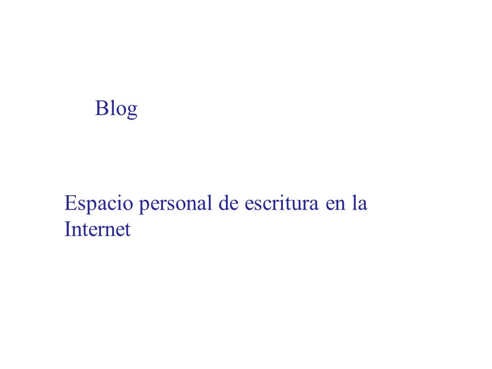 Blog Espacio personal de escritura en la Internet