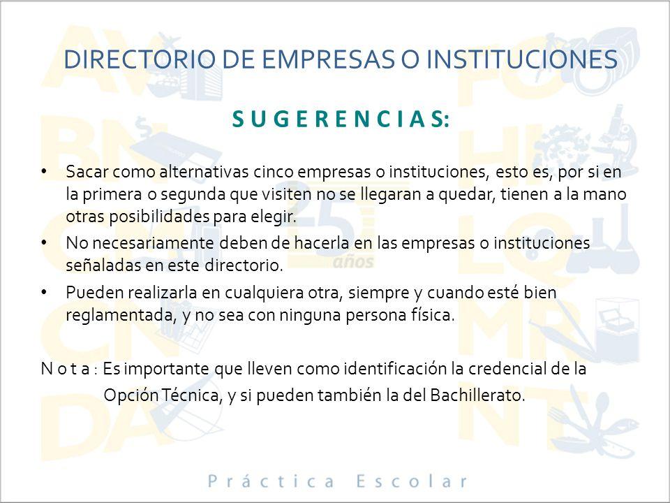 DIRECTORIO DE EMPRESAS O INSTITUCIONES S U G E R E N C I A S: