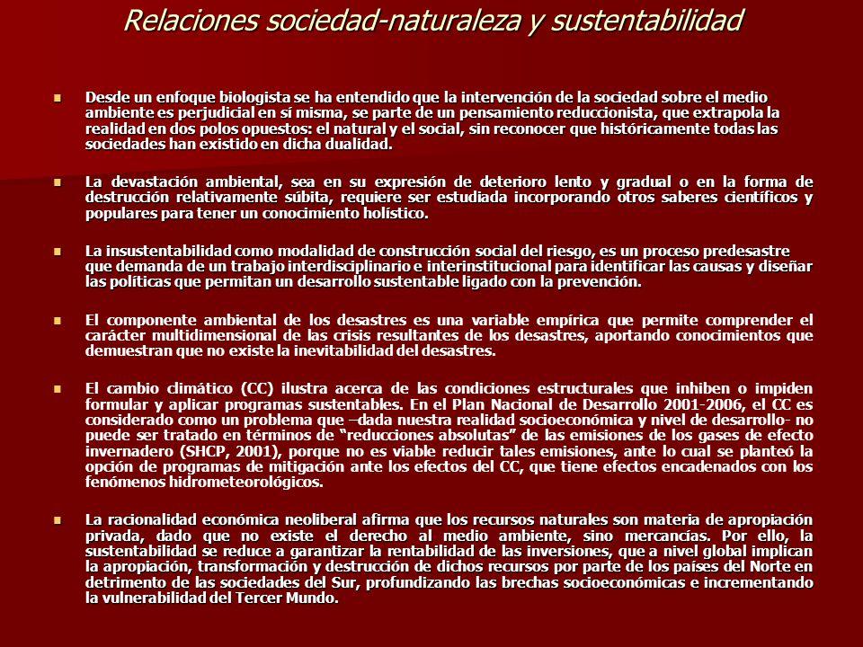 Relaciones sociedad-naturaleza y sustentabilidad