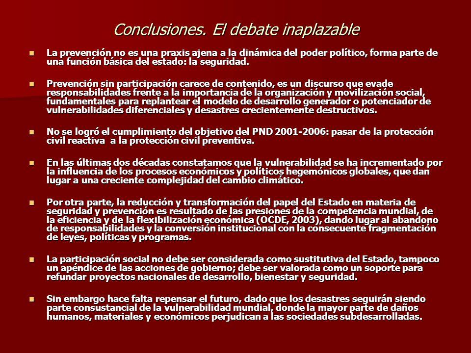 Conclusiones. El debate inaplazable