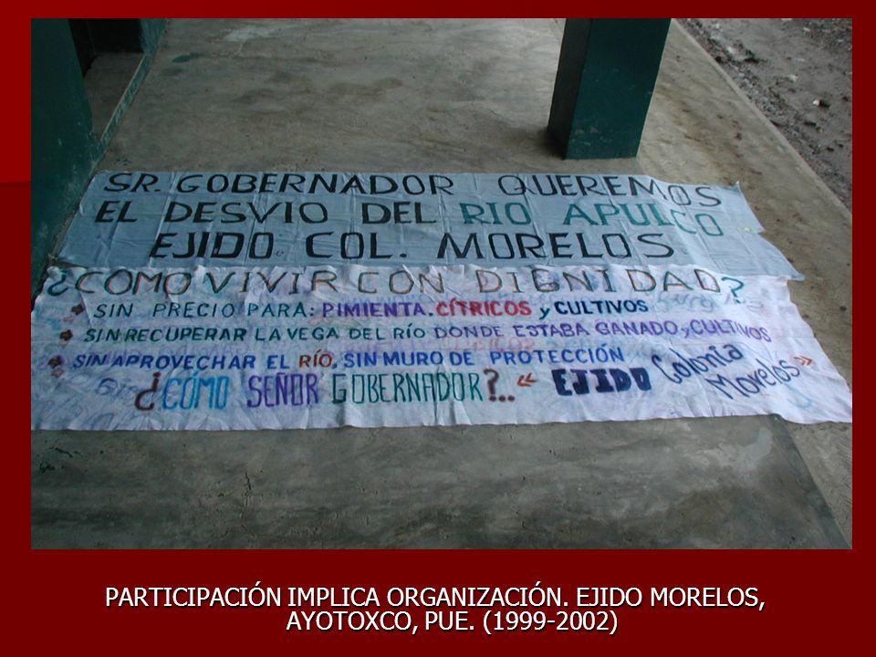 PARTICIPACIÓN IMPLICA ORGANIZACIÓN. EJIDO MORELOS, AYOTOXCO, PUE