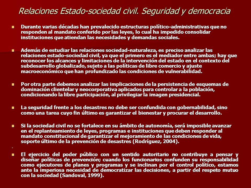 Relaciones Estado-sociedad civil. Seguridad y democracia