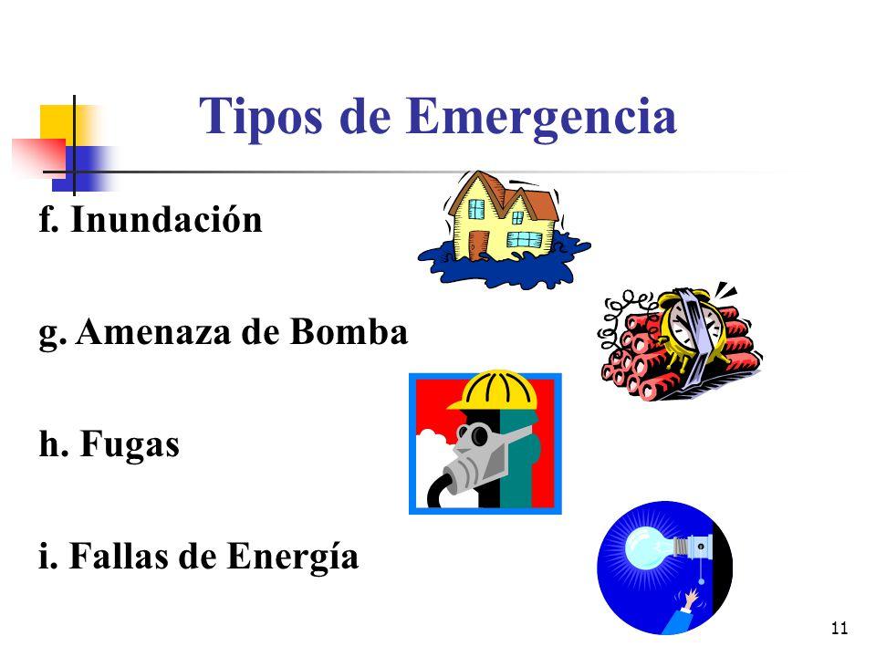 Tipos de Emergencia f. Inundación g. Amenaza de Bomba h. Fugas