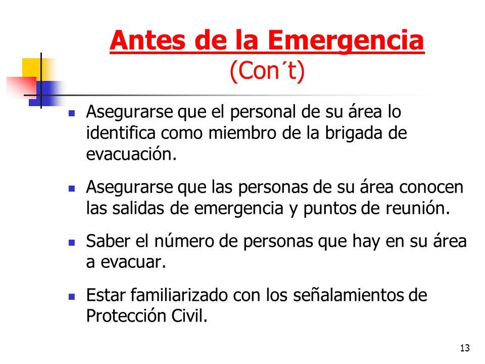 Antes de la Emergencia (Con´t)