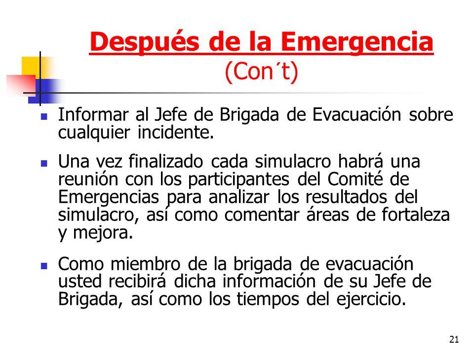 Después de la Emergencia (Con´t)
