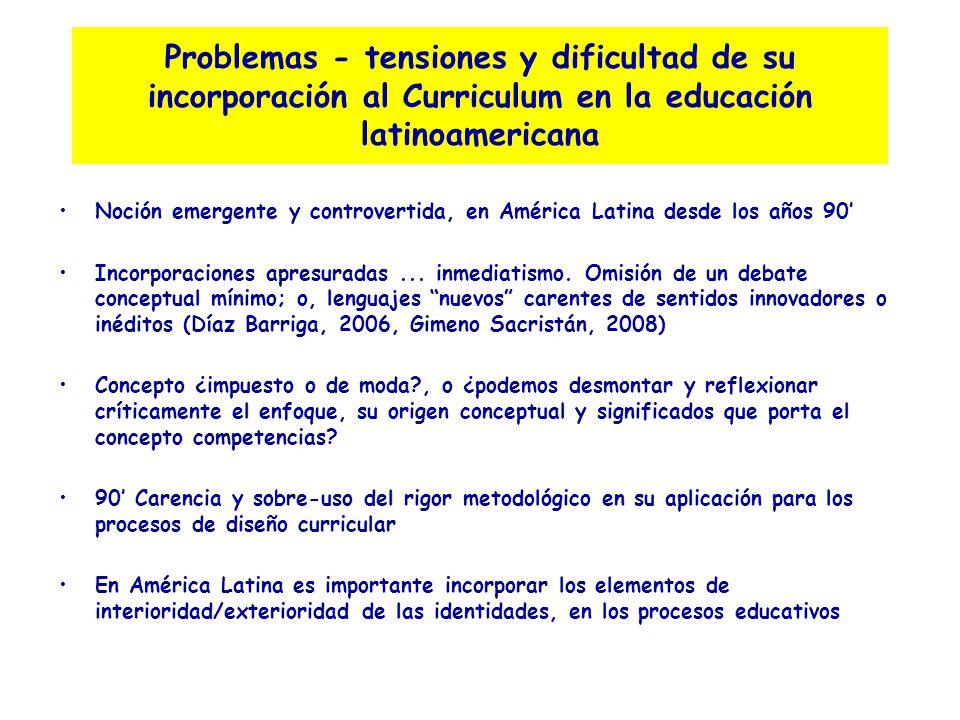 Problemas - tensiones y dificultad de su incorporación al Curriculum en la educación latinoamericana