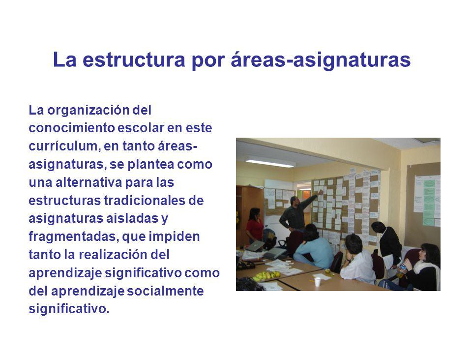 La estructura por áreas-asignaturas
