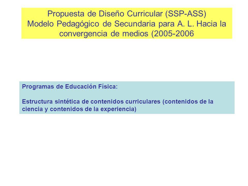 Propuesta de Diseño Curricular (SSP-ASS) Modelo Pedagógico de Secundaria para A. L. Hacia la convergencia de medios (2005-2006