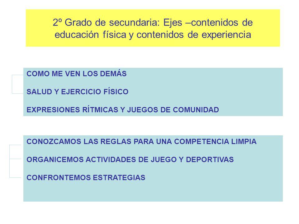2º Grado de secundaria: Ejes –contenidos de educación física y contenidos de experiencia