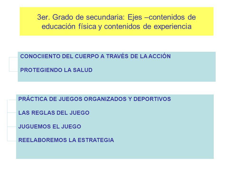 3er. Grado de secundaria: Ejes –contenidos de educación física y contenidos de experiencia