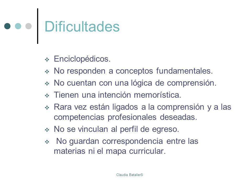 Dificultades Enciclopédicos. No responden a conceptos fundamentales.