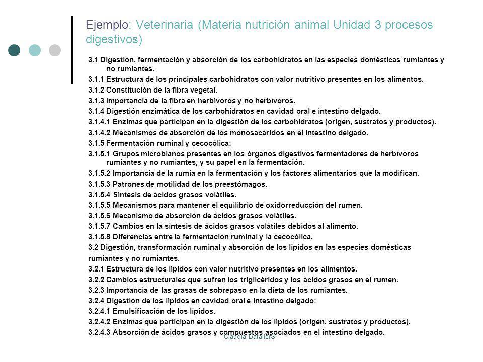 Ejemplo: Veterinaria (Materia nutrición animal Unidad 3 procesos digestivos)