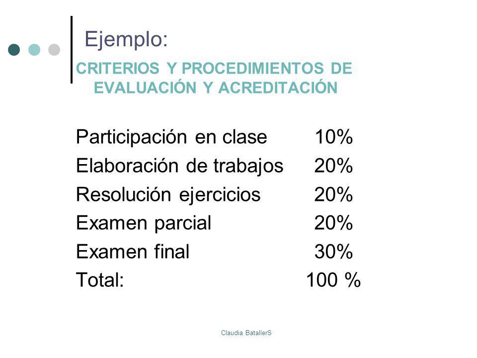 Ejemplo: Participación en clase 10% Elaboración de trabajos 20%
