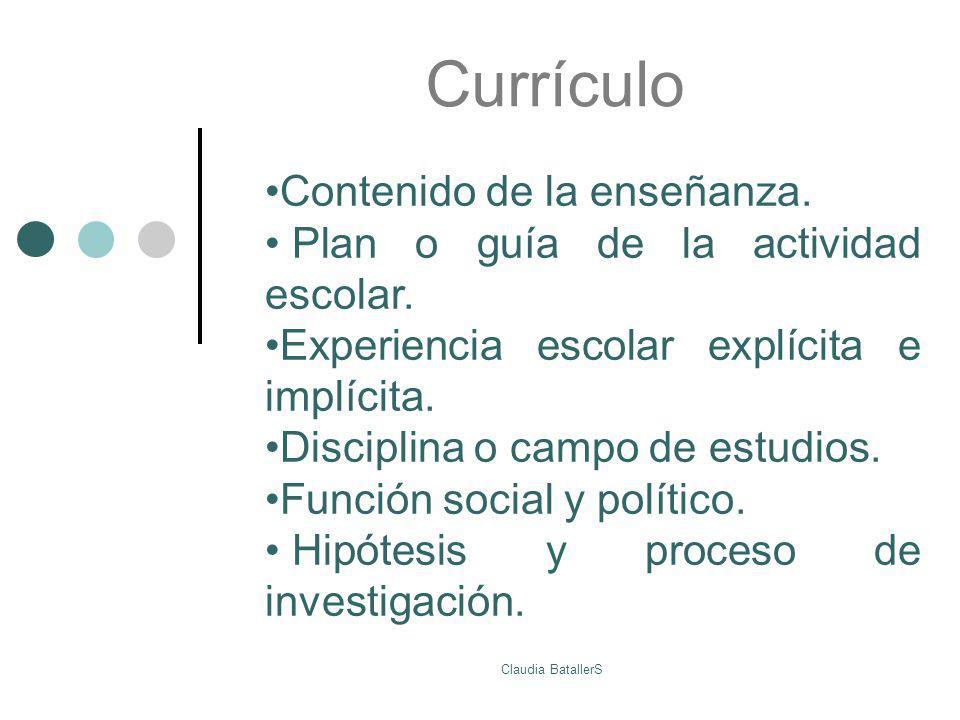 Currículo Contenido de la enseñanza.