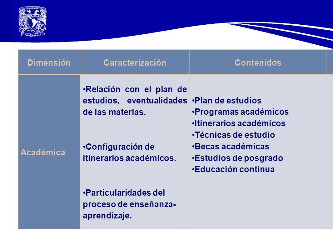 Dimensión Caracterización. Contenidos. Académica. Relación con el plan de estudios, eventualidades de las materias.