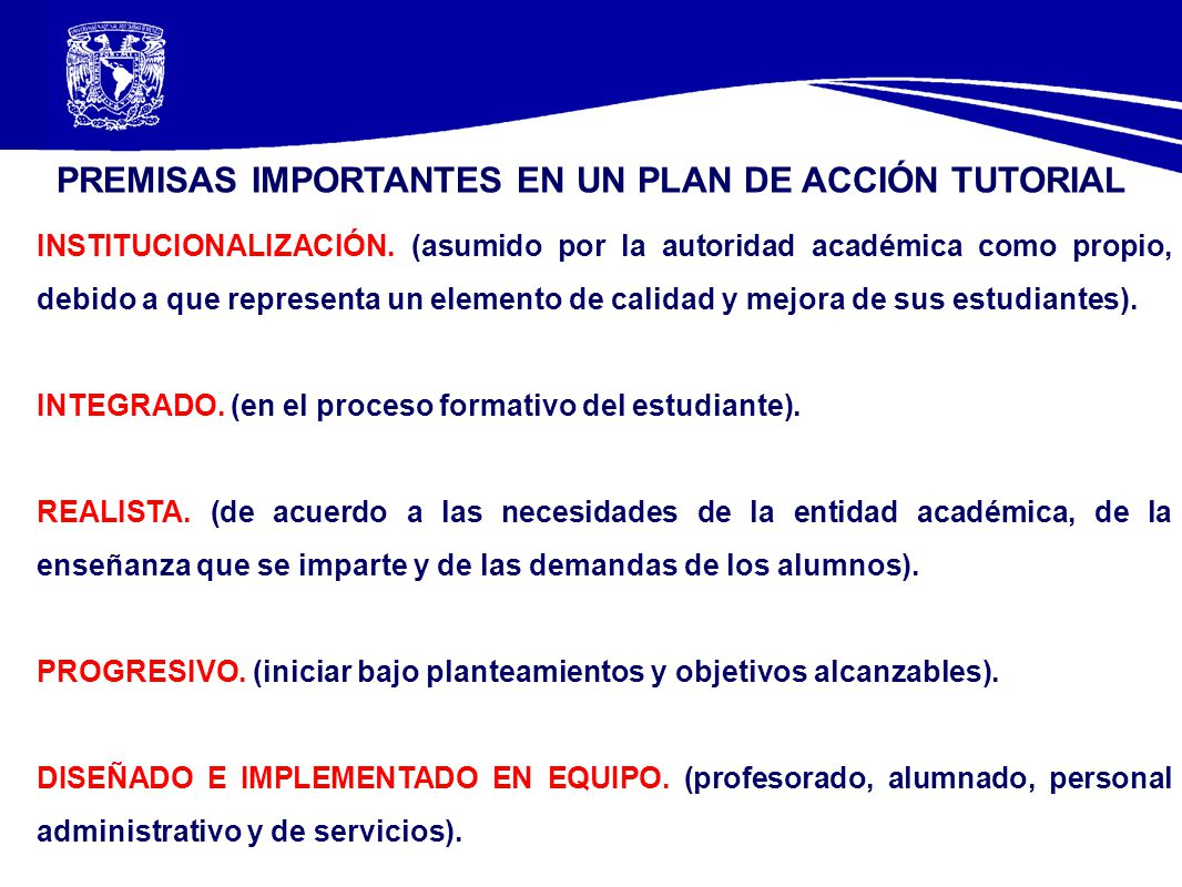 PREMISAS IMPORTANTES EN UN PLAN DE ACCIÓN TUTORIAL