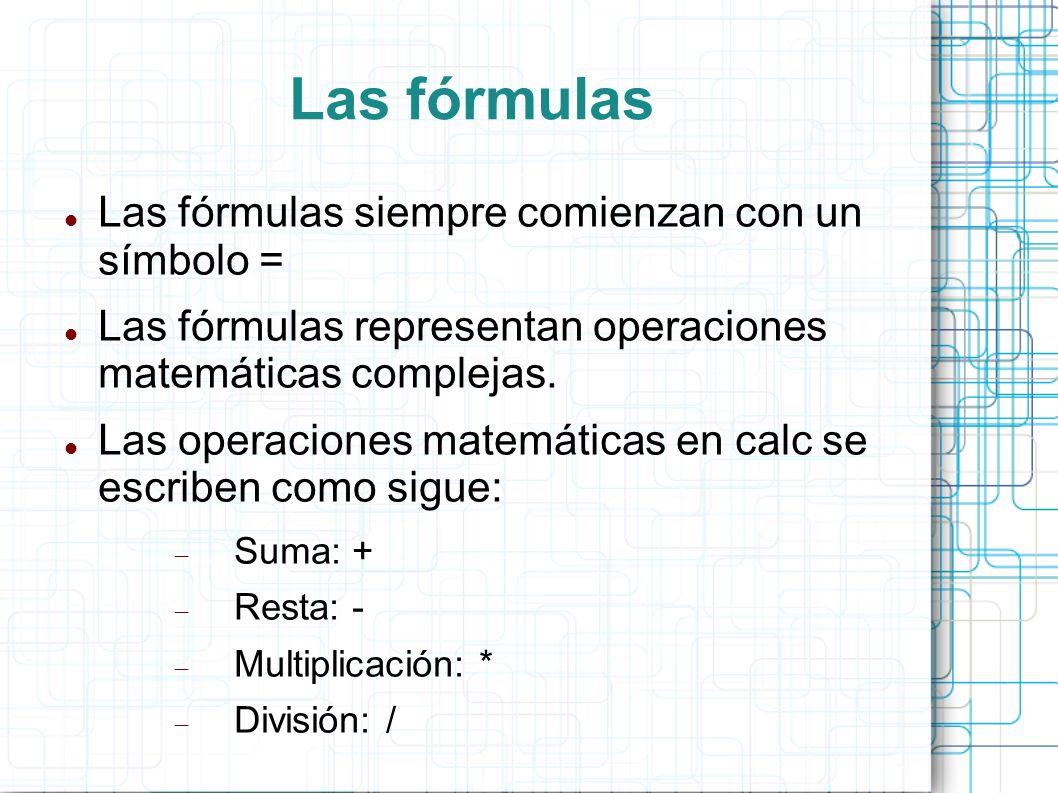 Las fórmulas Las fórmulas siempre comienzan con un símbolo =