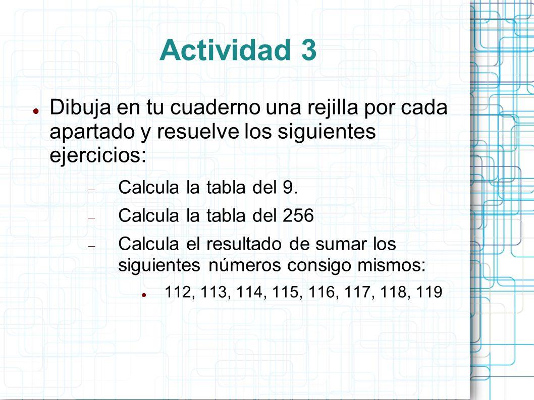 Actividad 3 Dibuja en tu cuaderno una rejilla por cada apartado y resuelve los siguientes ejercicios: