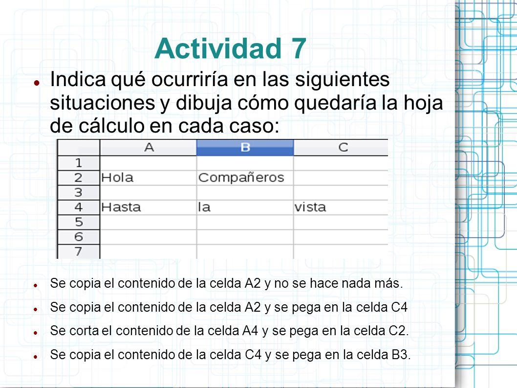 Actividad 7 Indica qué ocurriría en las siguientes situaciones y dibuja cómo quedaría la hoja de cálculo en cada caso: